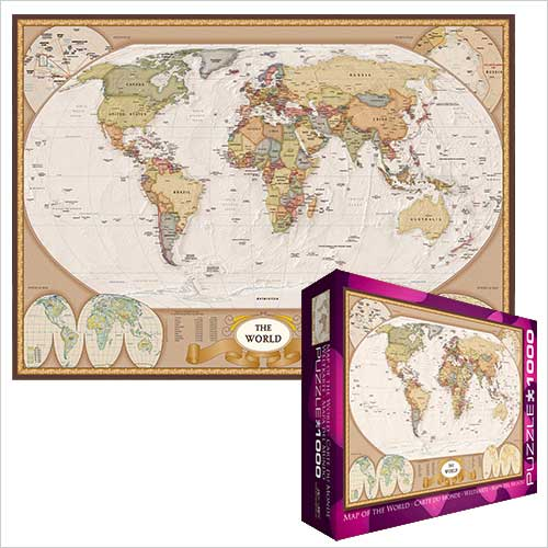 Puzzle world map brown ocean style world map puzzle antique puzzle world map brown ocean style gumiabroncs Gallery