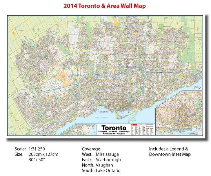 Toronto Large 2014 Paper Wall Map Toronto Large Paper Wall Map