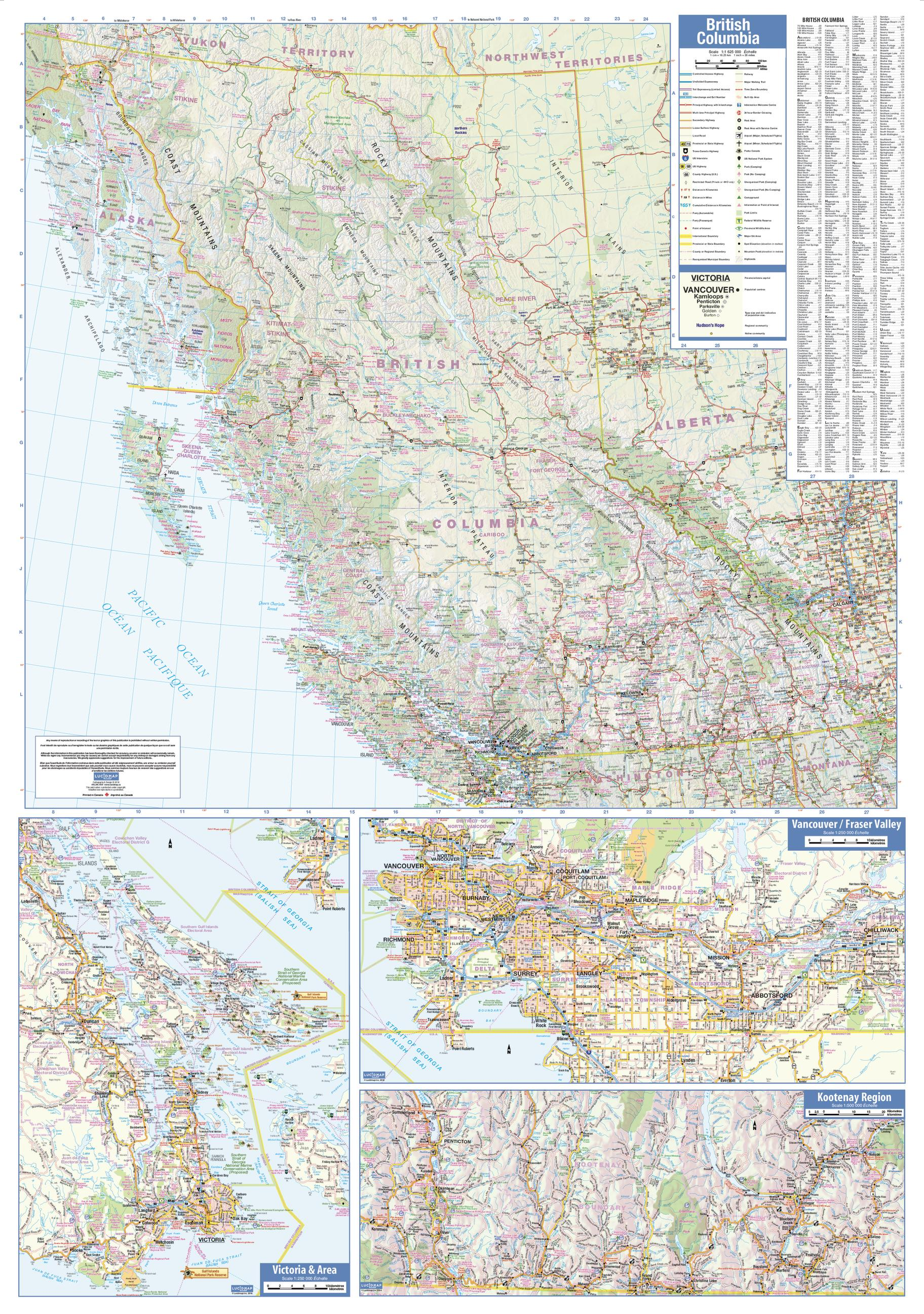 British Columbia LARGE Wall Map Shop Online At WorldOfMapscom - British columbia map