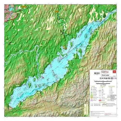 Rice Lake Fishing Map Rice Lake #161 (Kawartha Region)   Waterproof map from TrakMaps  Rice Lake Fishing Map