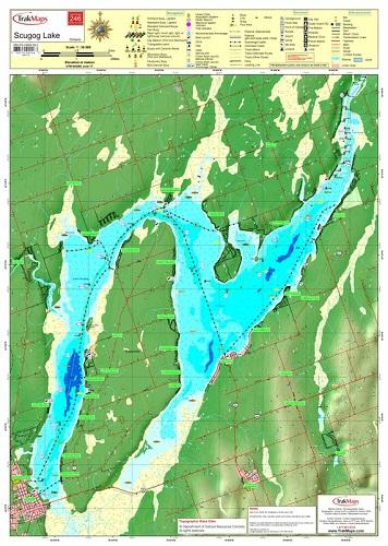 lake scugog fishing map Lake Scugog Wallmap 246 Waterproof Map From Trakmaps Colour lake scugog fishing map