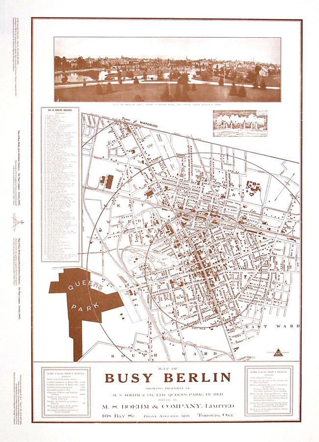 Busy Berlin Kitchener map 1912 Shop Online at WorldOfMapscom