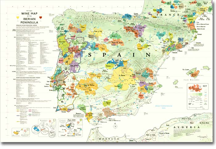 Map 24 Spain.Spain Portugal Wine Map 24 X36 Iberian Spain Portugal Wine Map