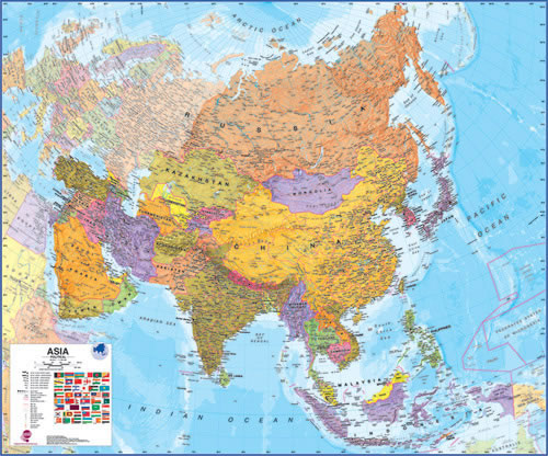 Map Of Modern Asia.Asia Wall Map W Vinyl Frame 47 X 39 A Modern Wall Map Of Asia