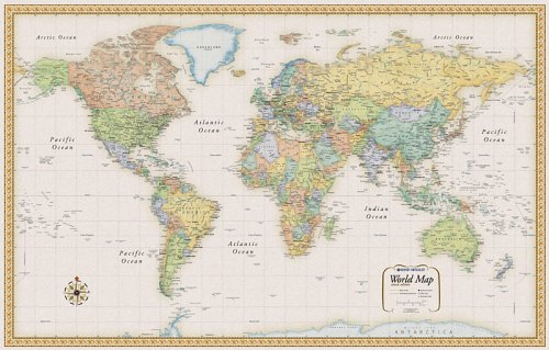 World Map Classic Large Wood Frame World Map Classic Large Wood