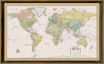 World rand mcnally classic wood frame world classic by rand world rand mcnally classic wood frame gumiabroncs Gallery