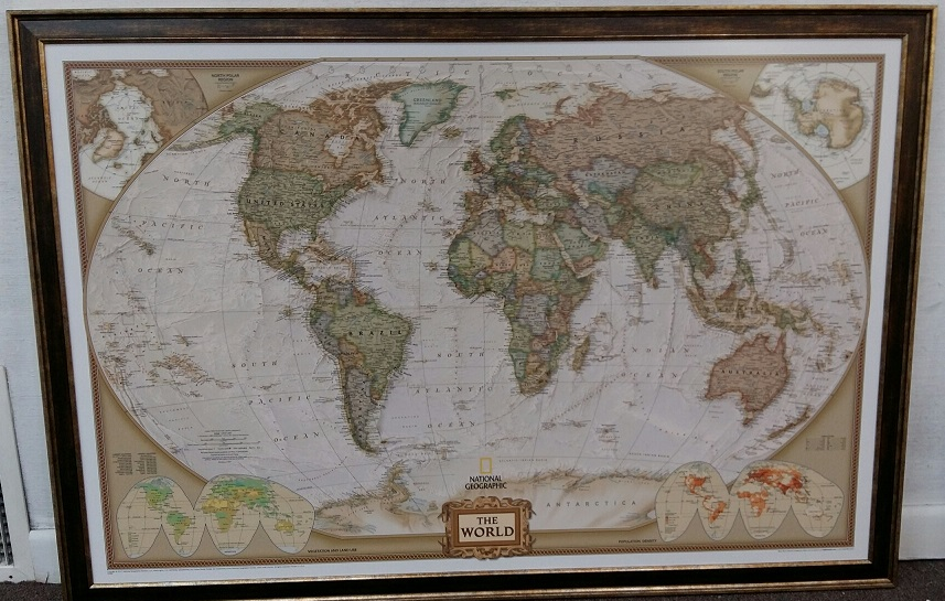 World ng executive 46x30 wood frame this earth toned wall map of world ng executive 46x30 wood frame gumiabroncs Gallery