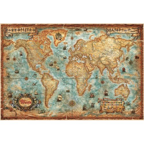 World map antique style laminated world map antique style world map antique style laminated gumiabroncs Gallery