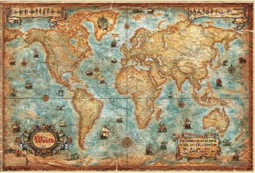 World Map Antique Style Aluminum Frame World Map Antique Style